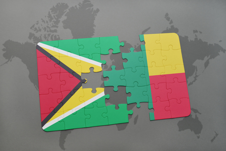 guyanese: puzzle with the national flag of guyana and benin on a world map background. 3D illustration