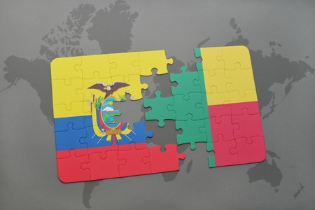 puzzle with the national flag of ecuador and benin on a world map background. 3D illustration