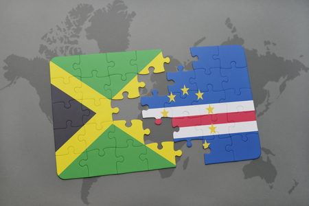 puzzle with the national flag of jamaica and cape verde on a world map background. 3D illustration Stock Photo