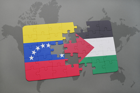 puzzle with the national flag of venezuela and palestine on a world map background. 3D illustration Stock Photo
