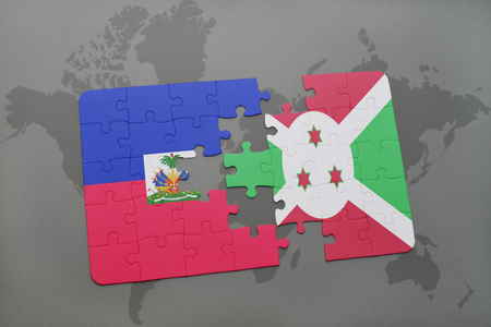 puzzle with the national flag of haiti and burundi on a world map background. 3D illustration