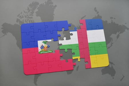 grey background texture: puzzle with the national flag of haiti and central african republic on a world map background. 3D illustration