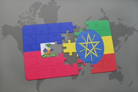 grey background texture: puzzle with the national flag of haiti and ethiopia on a world map background. 3D illustration