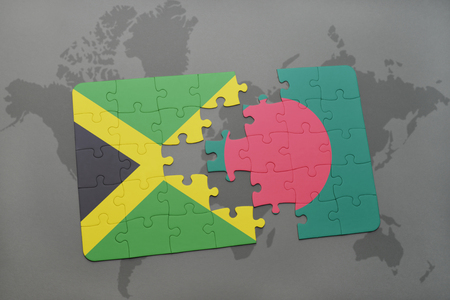 grey background texture: puzzle with the national flag of jamaica and bangladesh on a world map background. 3D illustration