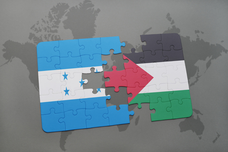 puzzle with the national flag of honduras and palestine on a world map background. 3D illustration Stock Photo