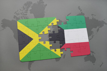 grey background texture: puzzle with the national flag of jamaica and kuwait on a world map background. 3D illustration