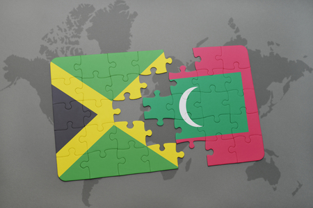 grey background texture: puzzle with the national flag of jamaica and maldives on a world map background. 3D illustration