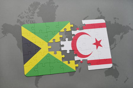 puzzle with the national flag of jamaica and northern cyprus on a world map background. 3D illustration