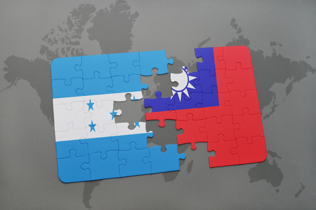 grey background texture: puzzle with the national flag of honduras and taiwan on a world map background. 3D illustration
