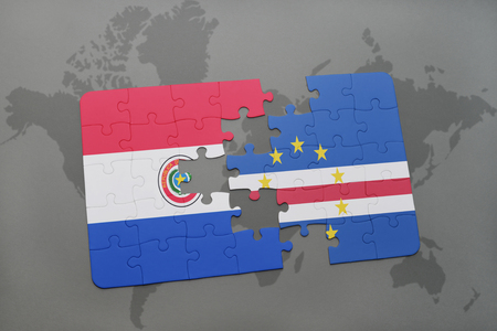 praia: puzzle with the national flag of paraguay and cape verde on a world map background. 3D illustration Stock Photo