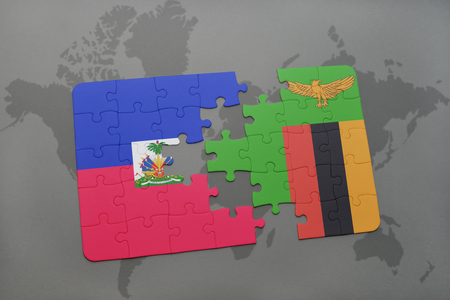 puzzle with the national flag of haiti and zambia on a world map background. 3D illustration