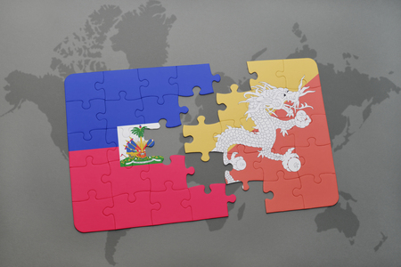 bhutan: puzzle with the national flag of haiti and bhutan on a world map background. 3D illustration