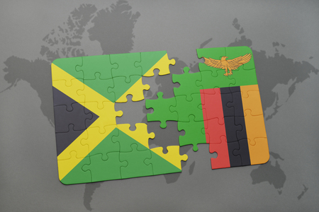 kingston: puzzle with the national flag of jamaica and zambia on a world map background. 3D illustration Stock Photo