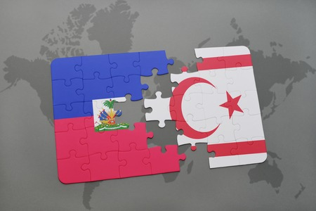puzzle with the national flag of haiti and northern cyprus on a world map background. 3D illustration Stock Photo