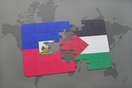 puzzle with the national flag of haiti and palestine on a world map background. 3D illustration