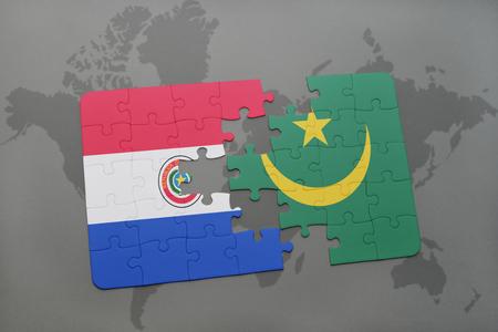 Casse-tête avec le drapeau national de paraguay et mauritanie sur un fond de carte du monde. illustration 3D Banque d'images - 76545044
