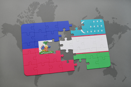 puzzle with the national flag of haiti and uzbekistan on a world map background. 3D illustration