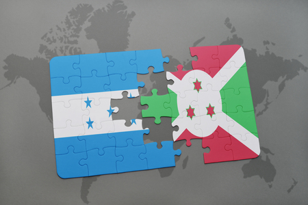 puzzle with the national flag of honduras and burundi on a world map background. 3D illustration