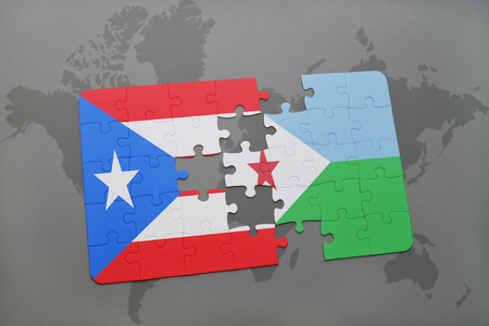 puzzle with the national flag of puerto rico and djibouti on a world map background. 3D illustration
