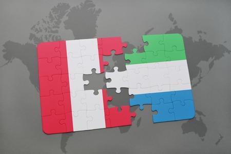 Rompecabezas con la bandera nacional de Perú y Sierra Leona sobre un fondo de mapa del mundo. Ilustración 3D Foto de archivo - 76545247