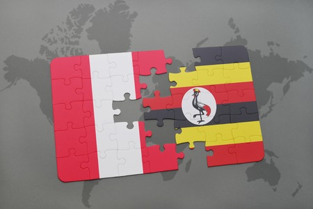 kampala: puzzle with the national flag of peru and uganda on a world map background. 3D illustration