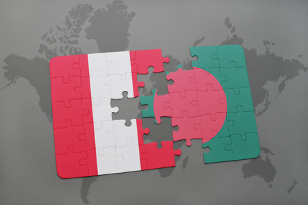 puzzle with the national flag of peru and bangladesh on a world map background. 3D illustration