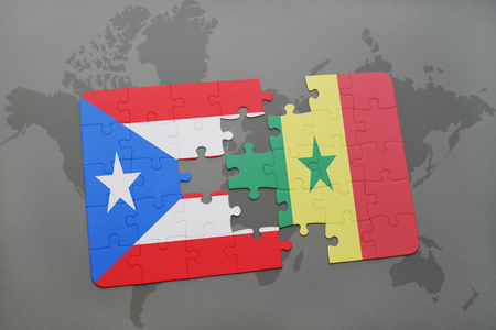 dakar: puzzle with the national flag of puerto rico and senegal on a world map background. 3D illustration