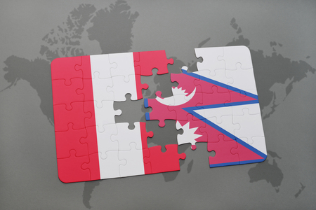 puzzle with the national flag of peru and nepal on a world map background. 3D illustration