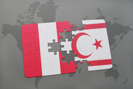 puzzle with the national flag of peru and northern cyprus on a world map background. 3D illustration