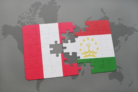 puzzle with the national flag of peru and tajikistan on a world map background. 3D illustration