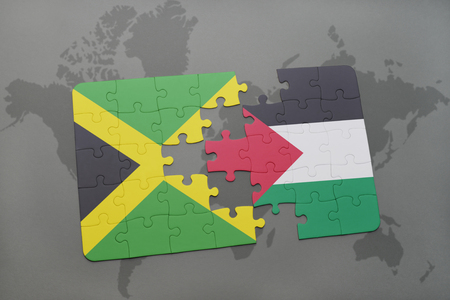 puzzle with the national flag of jamaica and palestine on a world map background. 3D illustration