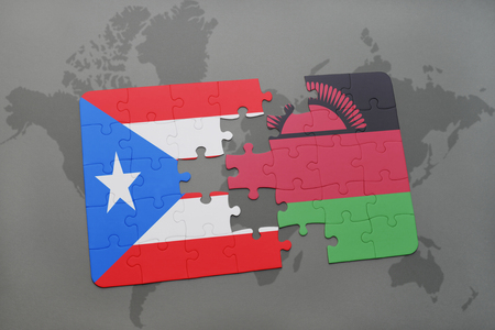 Puzzle With The National Flag Of Puerto Rico And Malawi On A.. Stock ...