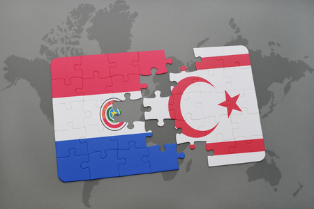 puzzle with the national flag of paraguay and northern cyprus on a world map background. 3D illustration