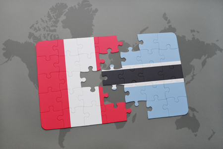 puzzle with the national flag of peru and botswana on a world map background. 3D illustration