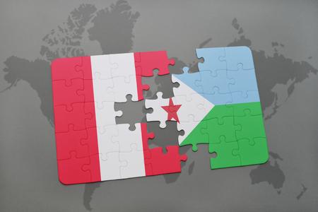 Rompecabezas con la bandera nacional de perú y djibouti en un fondo de mapa del mundo. Ilustración 3D Foto de archivo - 76544872
