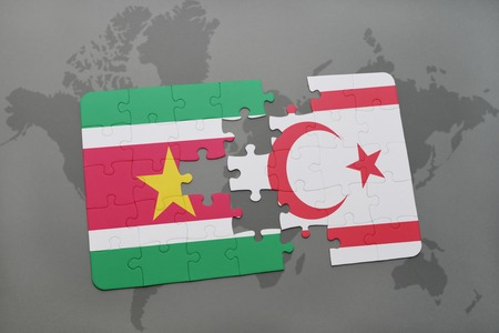 puzzle with the national flag of suriname and northern cyprus on a world map background. 3D illustration