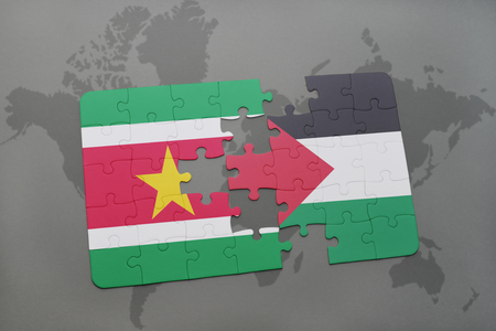 puzzle with the national flag of suriname and palestine on a world map background. 3D illustration
