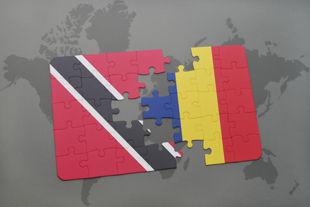 chad: puzzle with the national flag of trinidad and tobago and chad on a world map background. 3D illustration