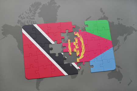 eritrea: puzzle with the national flag of trinidad and tobago and eritrea on a world map background. 3D illustration Stock Photo