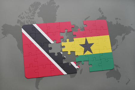 puzzle with the national flag of trinidad and tobago and ghana on a world map background. 3D illustration