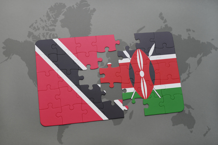 puzzle with the national flag of trinidad and tobago and kenya on a world map background. 3D illustration
