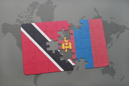 puzzle with the national flag of trinidad and tobago and mongolia on a world map background. 3D illustration