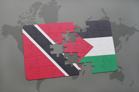 puzzle with the national flag of trinidad and tobago and palestine on a world map background. 3D illustration