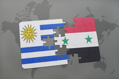 puzzle with the national flag of uruguay and syria on a world map background. 3D illustration
