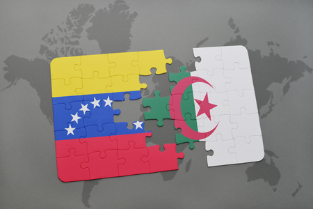 puzzle with the national flag of venezuela and algeria on a world map background. 3D illustration
