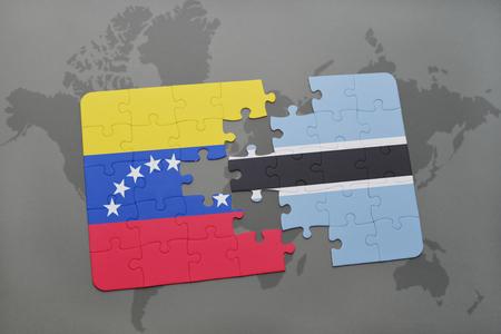 puzzle with the national flag of venezuela and botswana on a world map background. 3D illustration Stock Photo