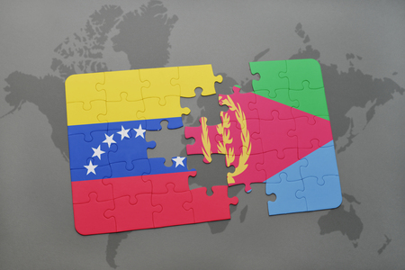 eritrea: puzzle with the national flag of venezuela and eritrea on a world map background. 3D illustration Stock Photo