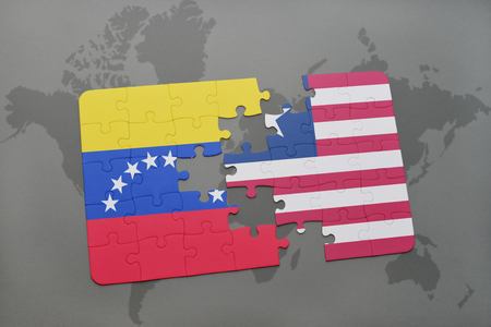 puzzle with the national flag of venezuela and liberia on a world map background. 3D illustration Stock Photo