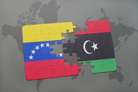 puzzle with the national flag of venezuela and libya on a world map background. 3D illustration