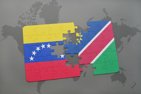 puzzle with the national flag of venezuela and namibia on a world map background. 3D illustration